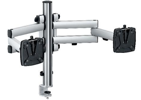 zweifache monitorhalterung h henverstellbar und schwenkbar. Black Bedroom Furniture Sets. Home Design Ideas