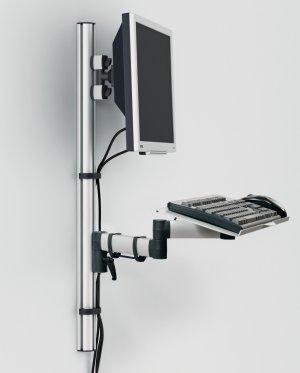 h henverstellbare monitor wandhalterung mit schwenkbarem tastatur tragarm. Black Bedroom Furniture Sets. Home Design Ideas