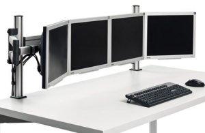 hochwertige schreibtisch monitorhalterung f r 4 computermonitore bis 24 zoll. Black Bedroom Furniture Sets. Home Design Ideas