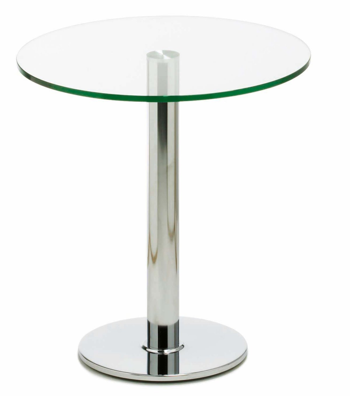 hochwertiger Glastisch mit runder Tisch- und Bodenplatte ...