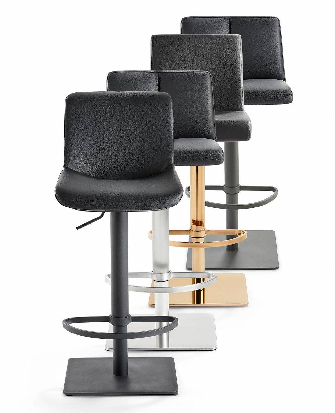 Stabiler Schalensitz Barhocker Gepolstert Echt Leder Sitzbezug Stahlgestell Schwarz