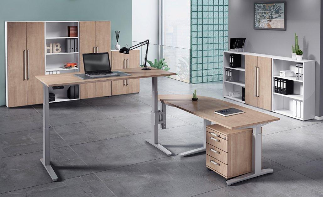 verkettbarer b ro schreibtisch und stehb rotisch. Black Bedroom Furniture Sets. Home Design Ideas