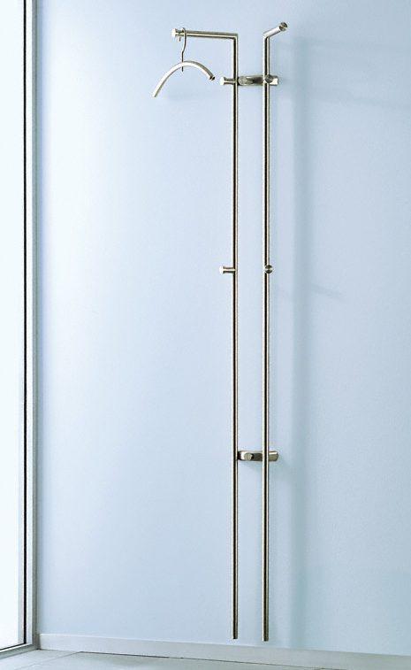elegante edelstahl wandgarderobe mit 2 garderobenstangen. Black Bedroom Furniture Sets. Home Design Ideas