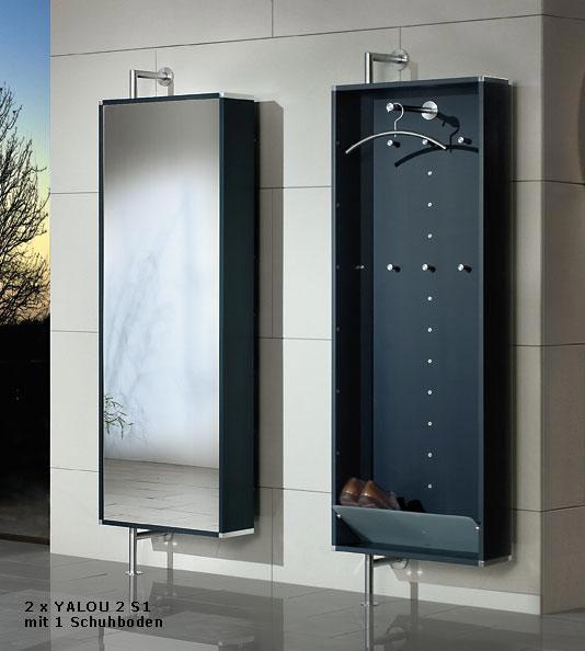 Drehbare Wand Garderobe Mit Spiegel 1 Schuhboden Satiniertes Glas