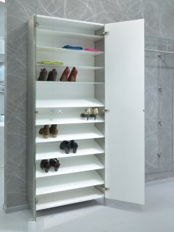 schuh und garderobenschrank wandmontage mit glasb den und. Black Bedroom Furniture Sets. Home Design Ideas
