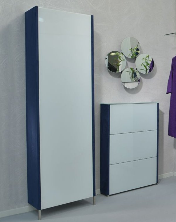 Design schuhschrank glast ren wei wildlederoptik - Dielenmobel design ...