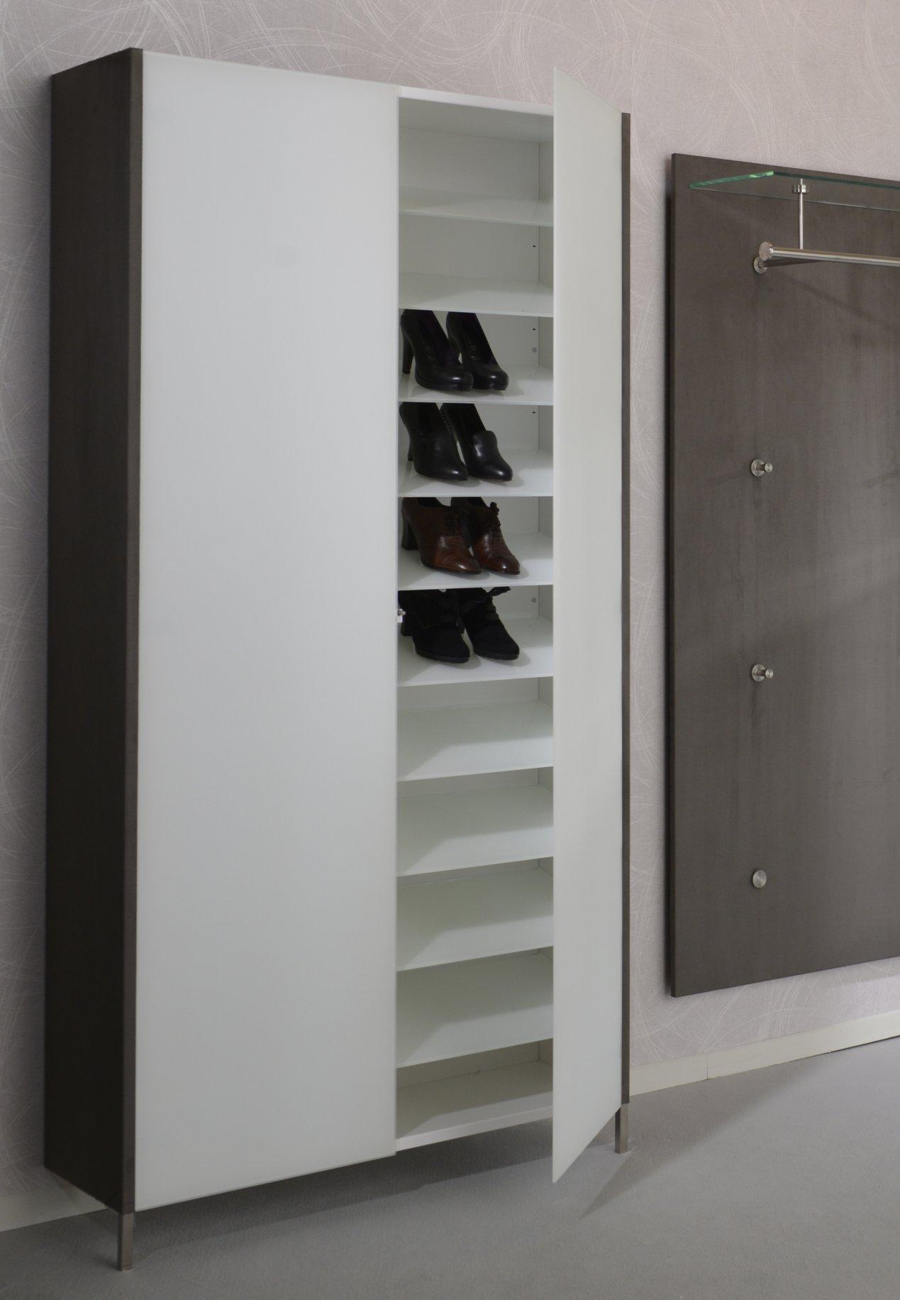 Schuhregal-Wandschrank aus Stahl 11 Glas-Schuhböden ca. 66 Paar Schuhe