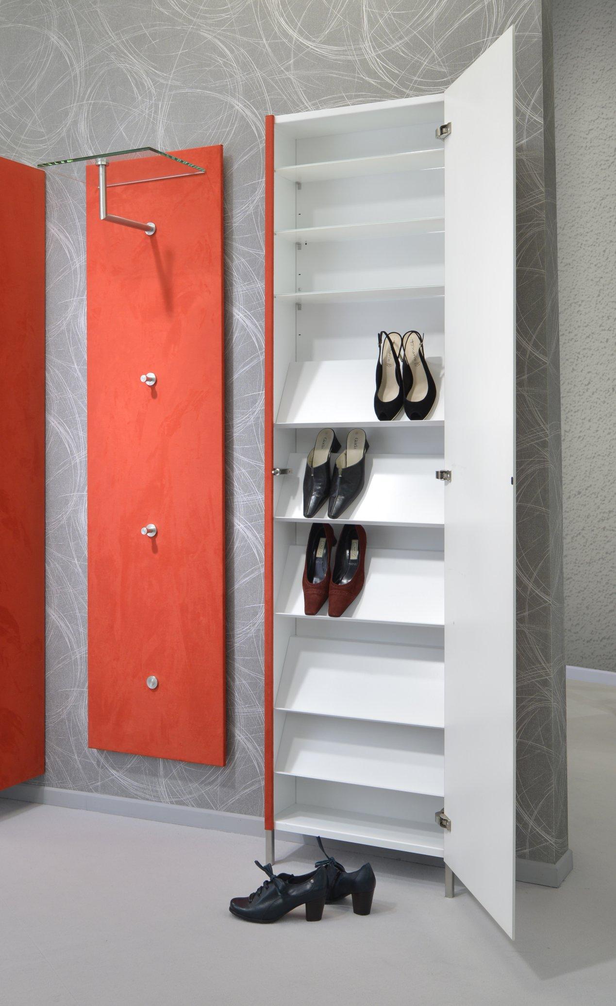 Schuhregal-Wandschrank Schrägböden Stahl-Fachböden, Spiegel- o. Glastür