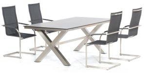 konfigurierbarer gartentisch tischplatte teak tischgestell edelstahl. Black Bedroom Furniture Sets. Home Design Ideas