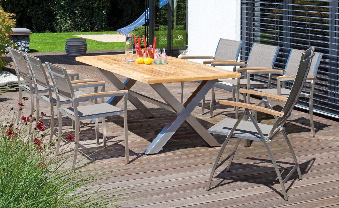 Robuster Gartentisch Spectra Re Edelstahl Tischgestell