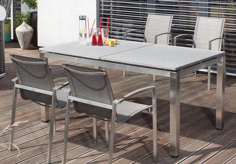robuster terrassentisch edelstahl tischgestell mit granittischplatte. Black Bedroom Furniture Sets. Home Design Ideas