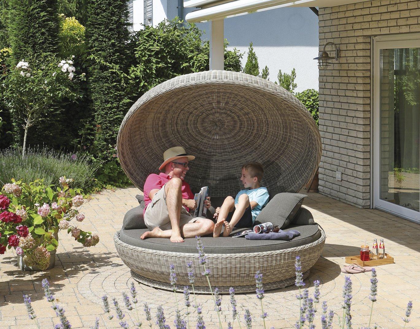 Bequeme Garten Liegeinsel Großer Liegefläche Sonnen Regenschutz