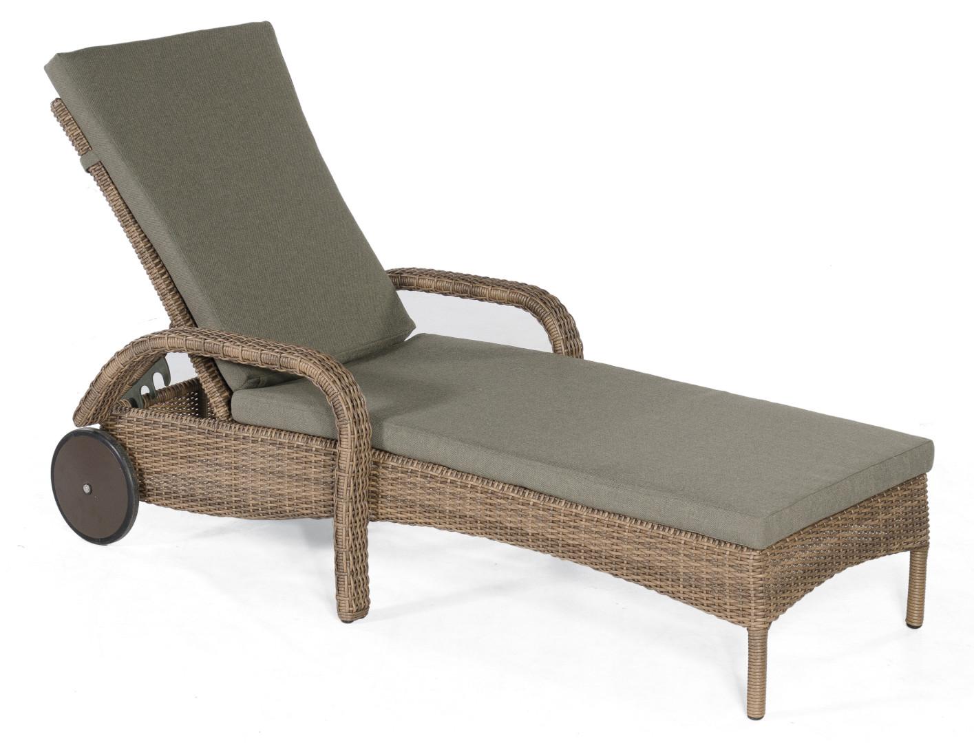 robuste geflecht gartenliege verstellbare r ckenlehne und laufrollen hochwertig. Black Bedroom Furniture Sets. Home Design Ideas