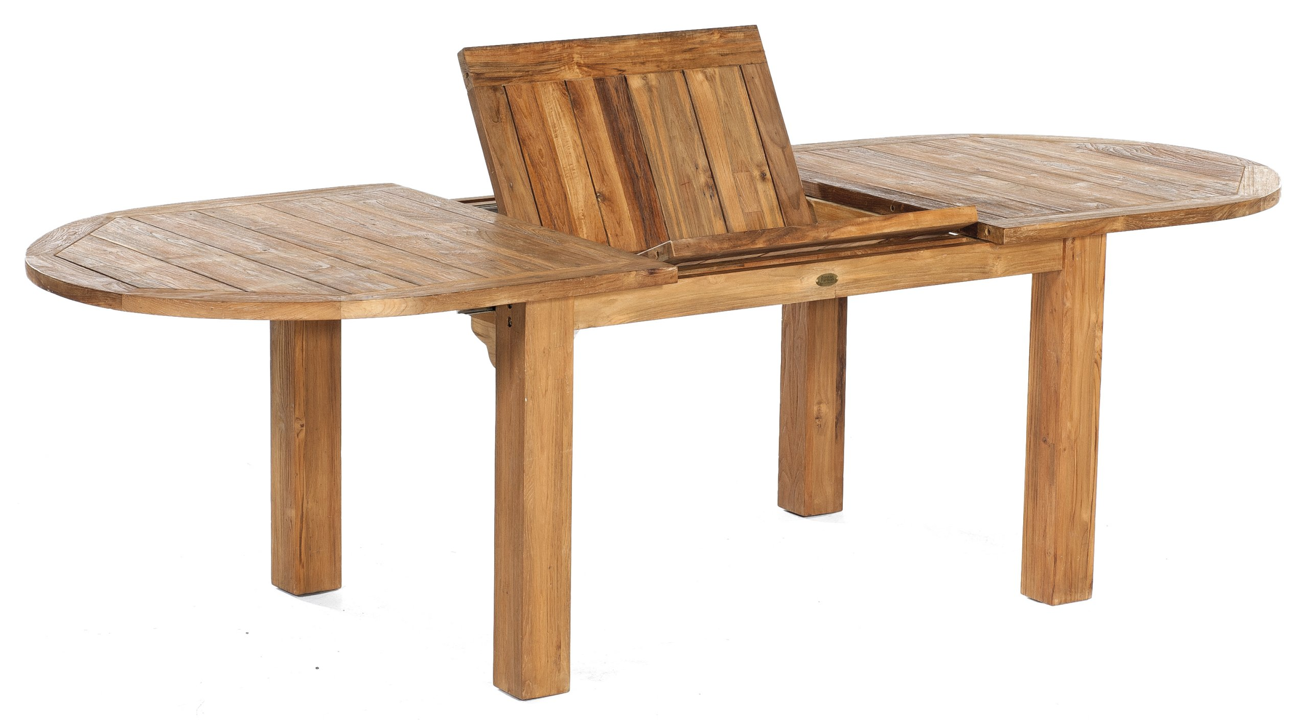 Wetterfester Ausziehbarer Old Teak Gartentisch Mit Ovalformiger