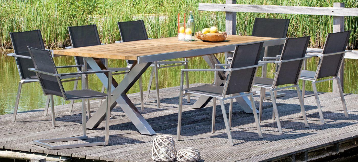 ausziehbarer gartentisch spectra edelstahl tischgestell teakholz tischplatte mit 4 x. Black Bedroom Furniture Sets. Home Design Ideas