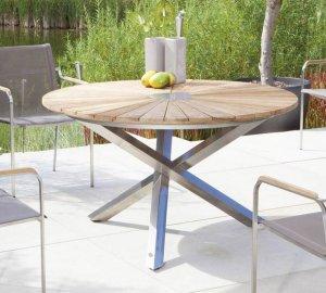 Wetterfester Gartentisch Stahlgestell Mit Runder Tischplatte Hochwertig
