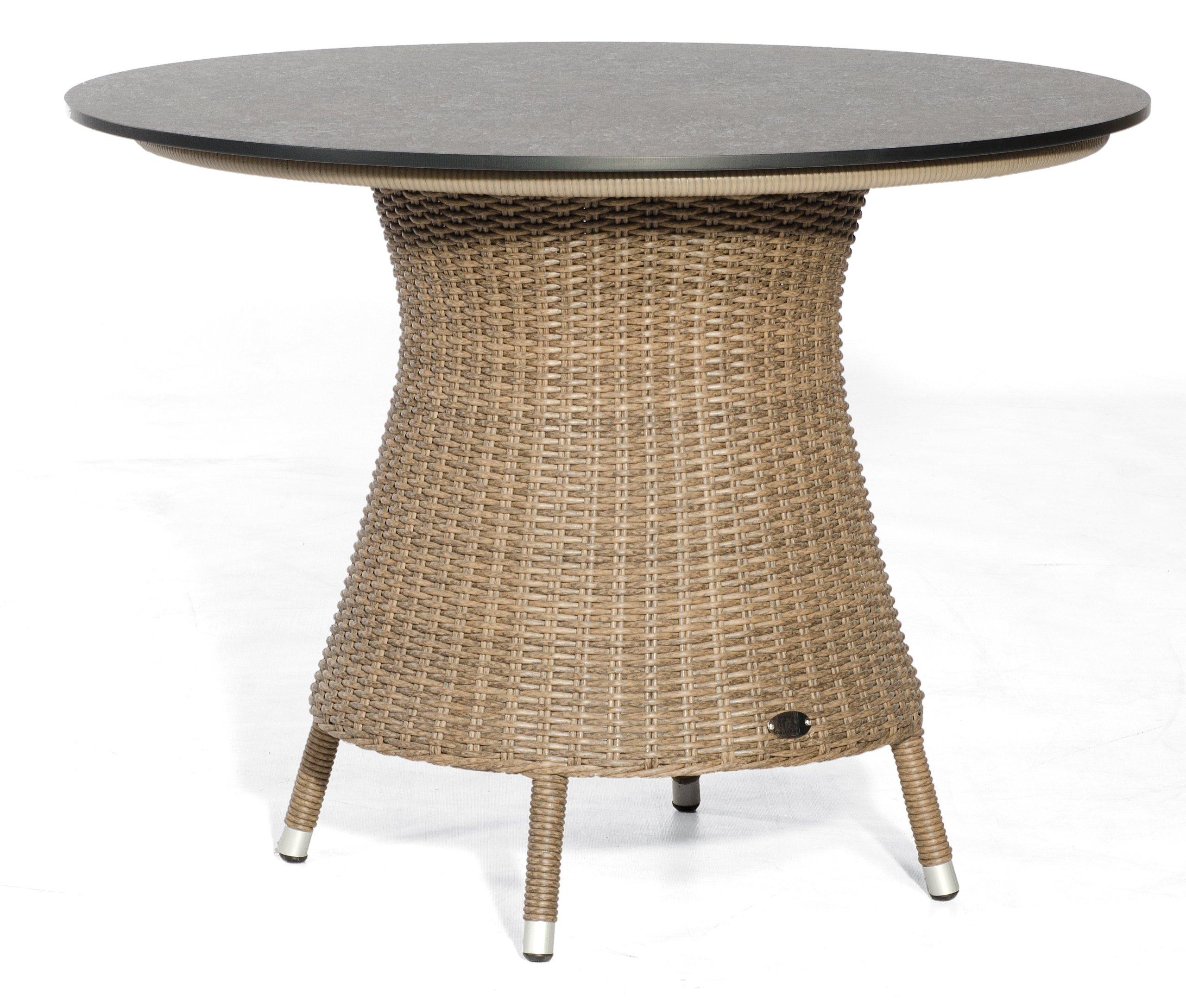 Hochwertiger Geflecht Gartentisch Runde Robuste Tischplatte