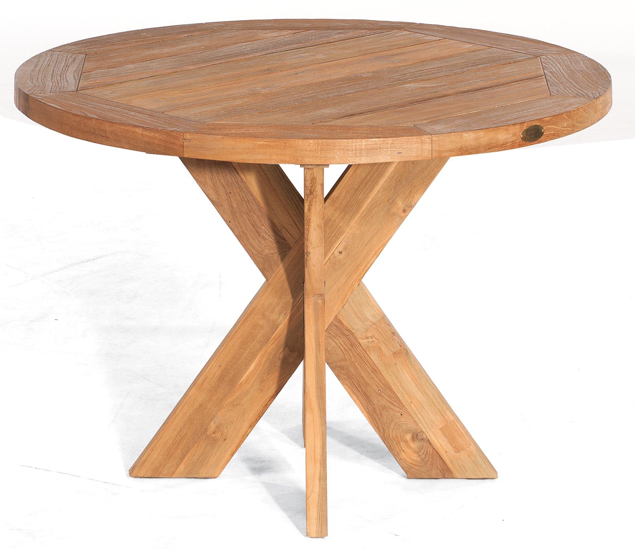 Witterungsbestandiger Teakholz Gartentisch Runde Tischplatte