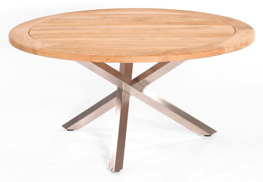 runder teakholz gartentisch aus teak massiv handgefertigt und edelstahl tischgestell. Black Bedroom Furniture Sets. Home Design Ideas