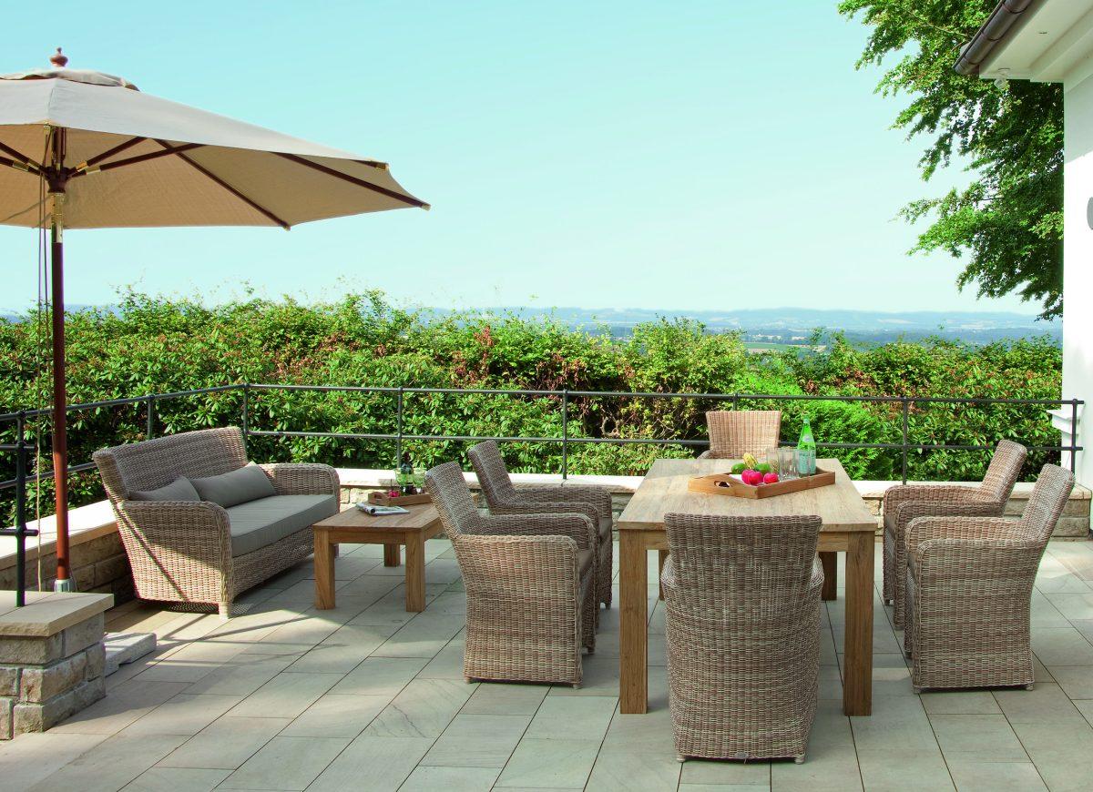 Gartensessel Mit Geflecht Gartensofa Und Teakholz Gartentisch