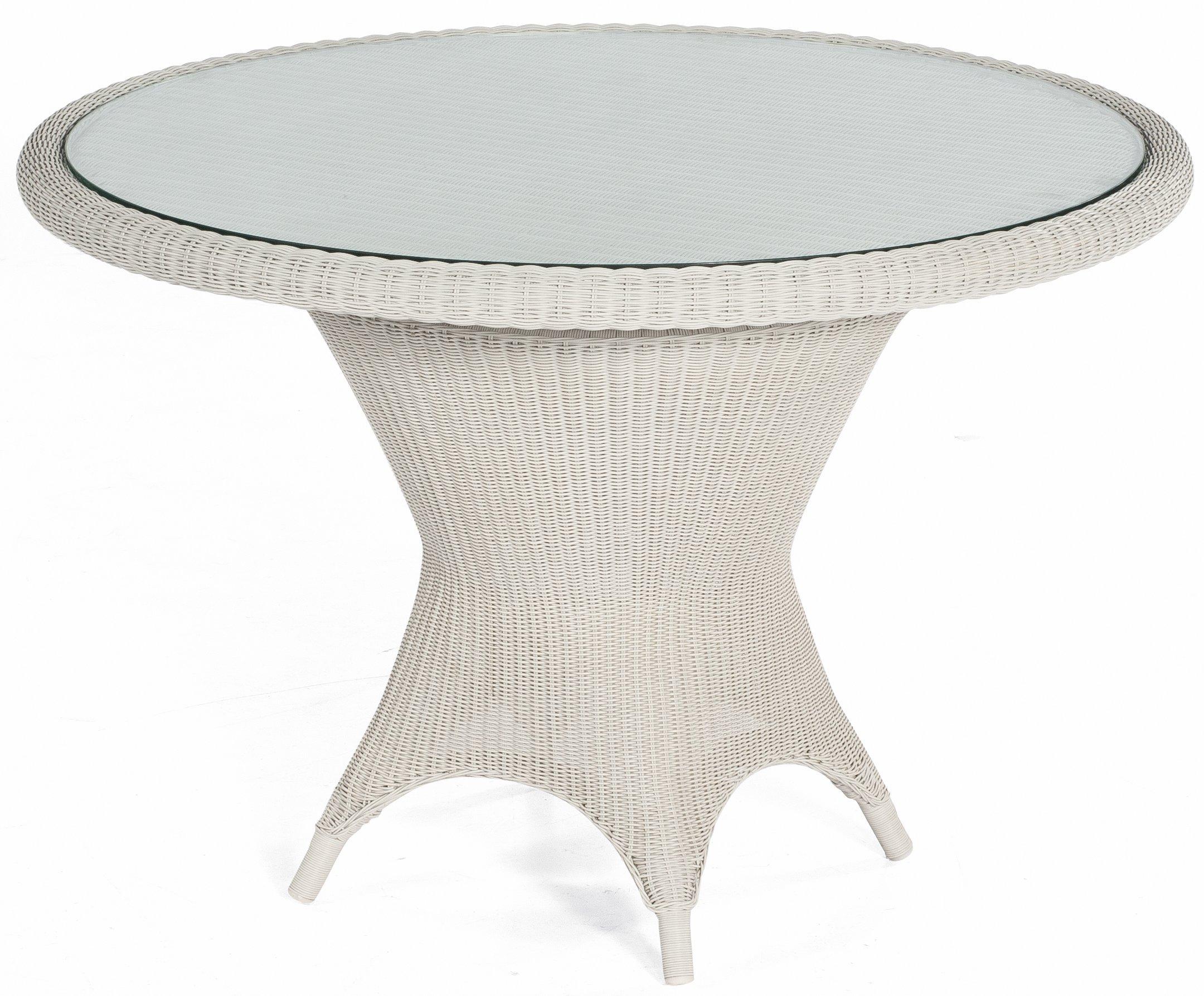 Wetterfester Weisser Geflecht Gartentisch Mit Runder Klarglas Tischplatte