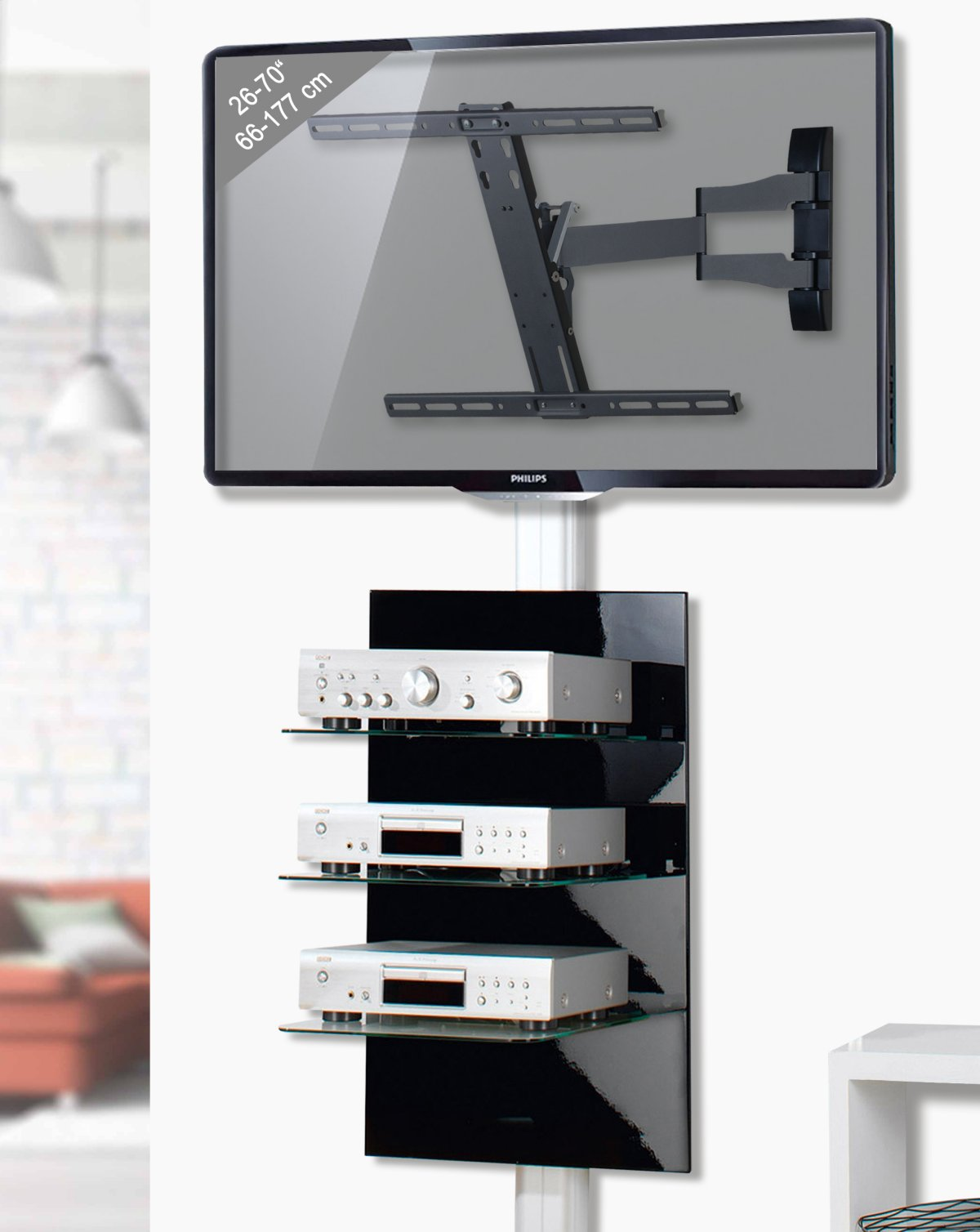 tectake tv wandregal wandhalterung f r dvd player. Black Bedroom Furniture Sets. Home Design Ideas