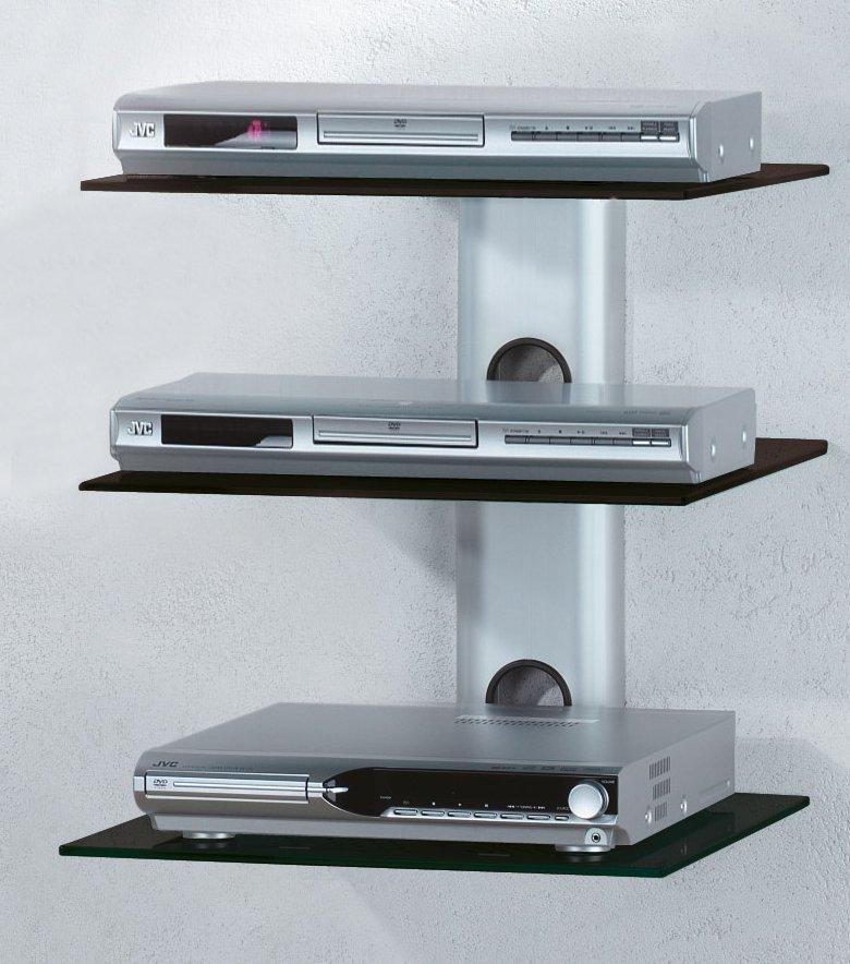 Wand-Trägersystem mit schwarzem Aluminium-Kabelkanal und 3 Fachböden ...