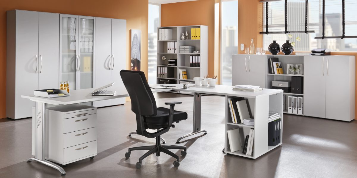 Büromöbel weiß grau  Anwendungsbsp. grau