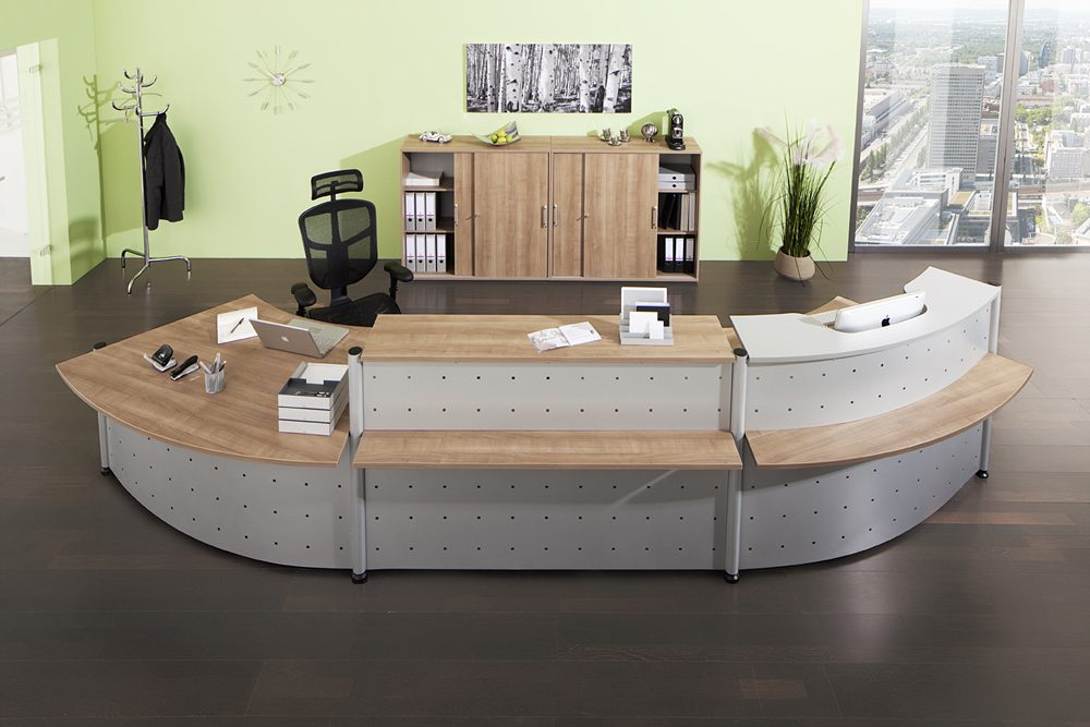 individuell erweiterbare thekensystem modul r und modul g als moderne empfangstheke und. Black Bedroom Furniture Sets. Home Design Ideas