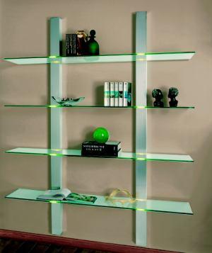 elegantes glas wandregal mit led beleuchtung. Black Bedroom Furniture Sets. Home Design Ideas