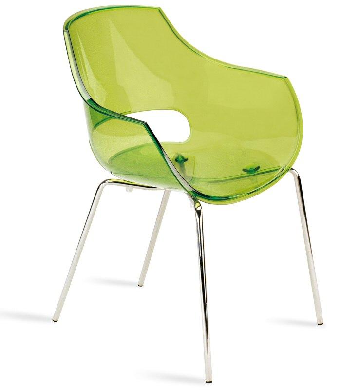 Abbildung Stapelbarer Armlehnen Stuhl Opal Transparent Grün Mit
