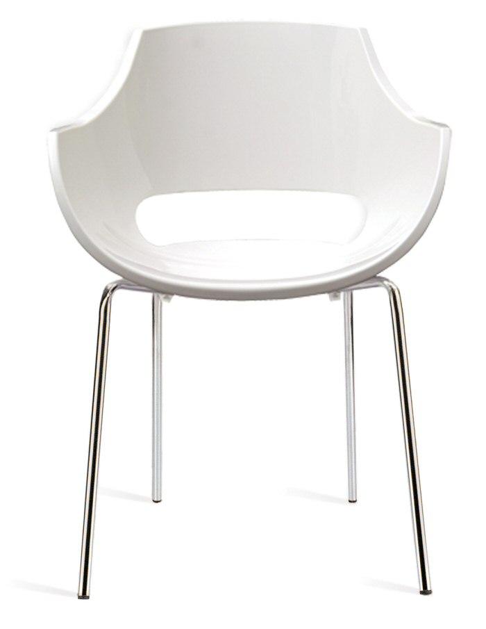 Abbildung Stapelbarer Armlehnen Stuhl Opal Solid Weiss Mit Weisser