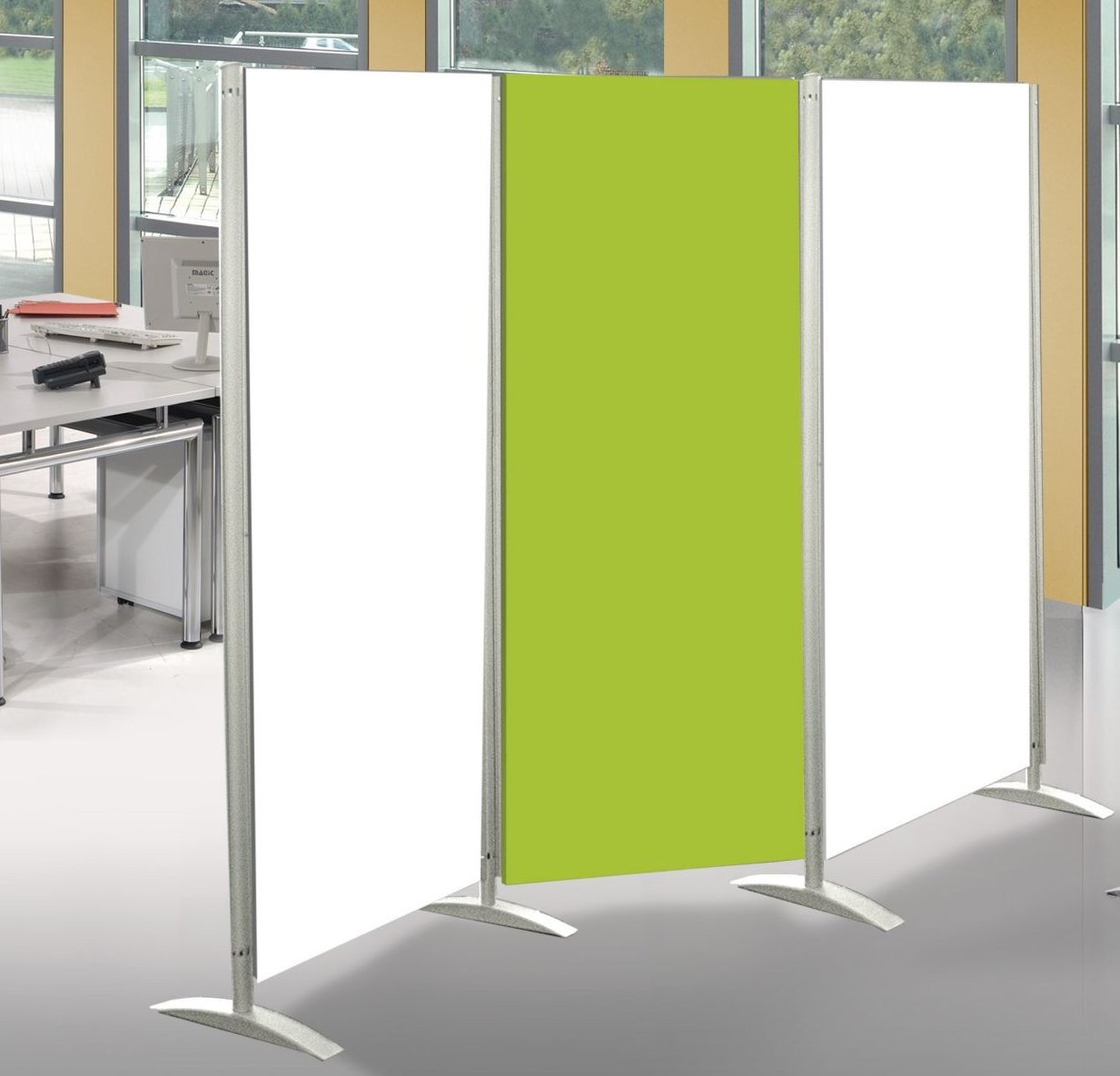 mobiler b ro raumteiler bewegliche sichtschutztrennwand aus robusten holzplatten. Black Bedroom Furniture Sets. Home Design Ideas