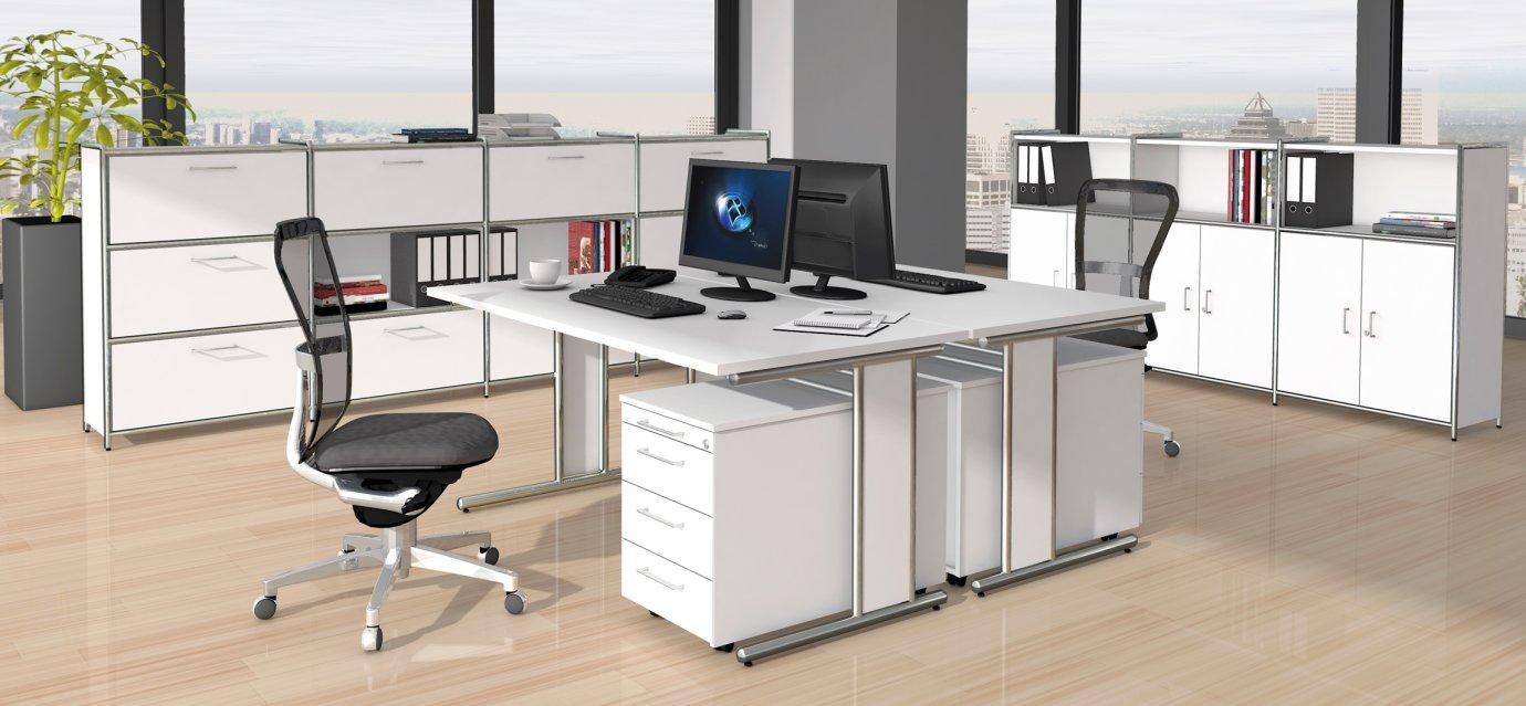 Moderne büromöbel weiss  weiße Büromöbel und moderne Büroschränke im robustem Stahlrahmen