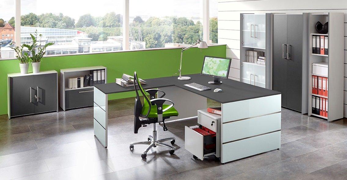 Moderne büroeinrichtung  moderne Büromöbel weiß / anthrazit: eleganter Wangengestell ...