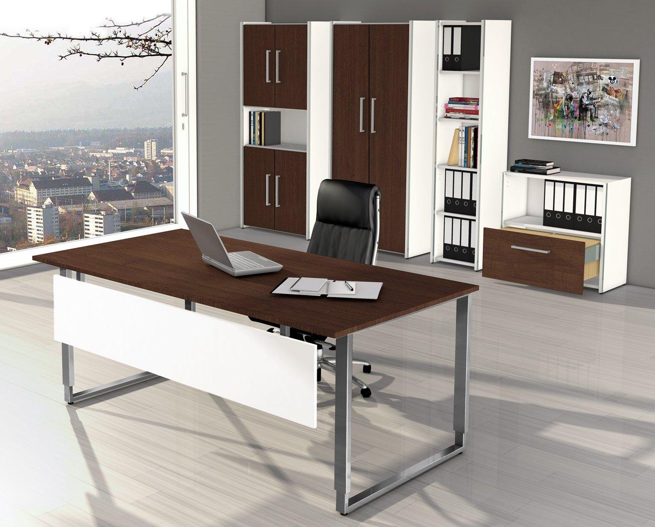 Moderne bueromoebel  robuste Büromöbel aus Holz (weiß / Wenge-Dekor) und Edelstahl