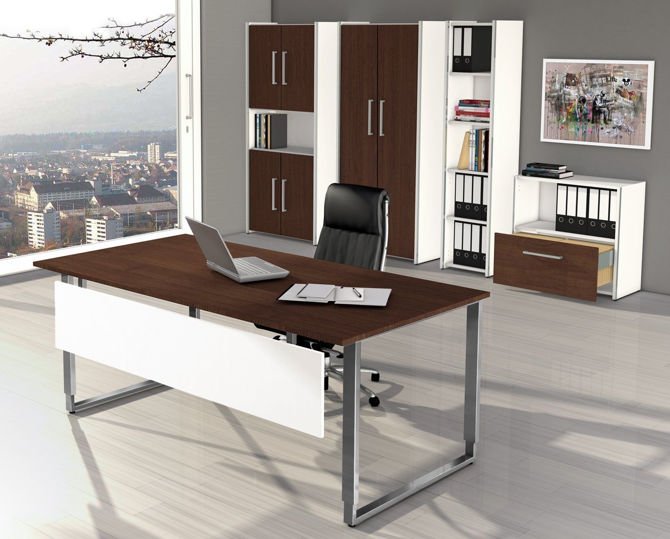 Moderne büromöbel weiss  robuste Büromöbel aus Holz (weiß / Wenge-Dekor) und Edelstahl