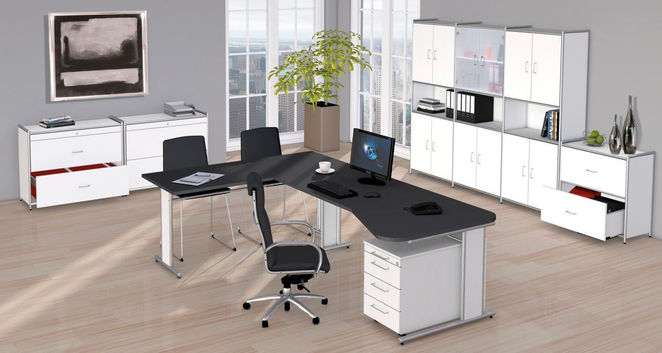 Moderne bueromoebel  Büro-Winkelschreibtisch mit großer Arbeitsfläche und weiße Büroschränke