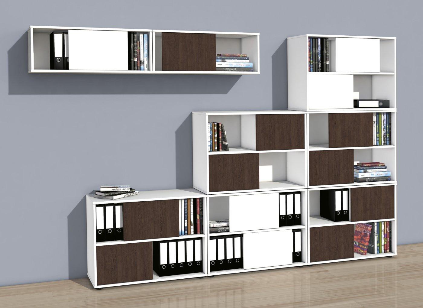 moderne b roschr nke mit zweifarbigen wendet ren nicht abschlie bare schiebet ren. Black Bedroom Furniture Sets. Home Design Ideas