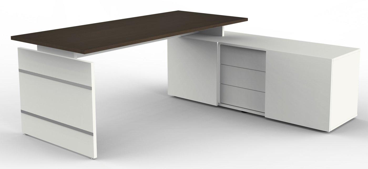 moderner b roschreibtisch mit hochwertigem b ro sideboard als platzsparender b ro. Black Bedroom Furniture Sets. Home Design Ideas
