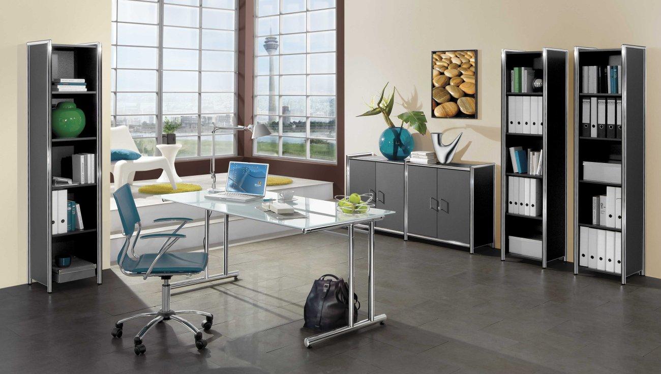 Moderne und robuste Büromöbel (Glasschreibtisch mit satinierter ...