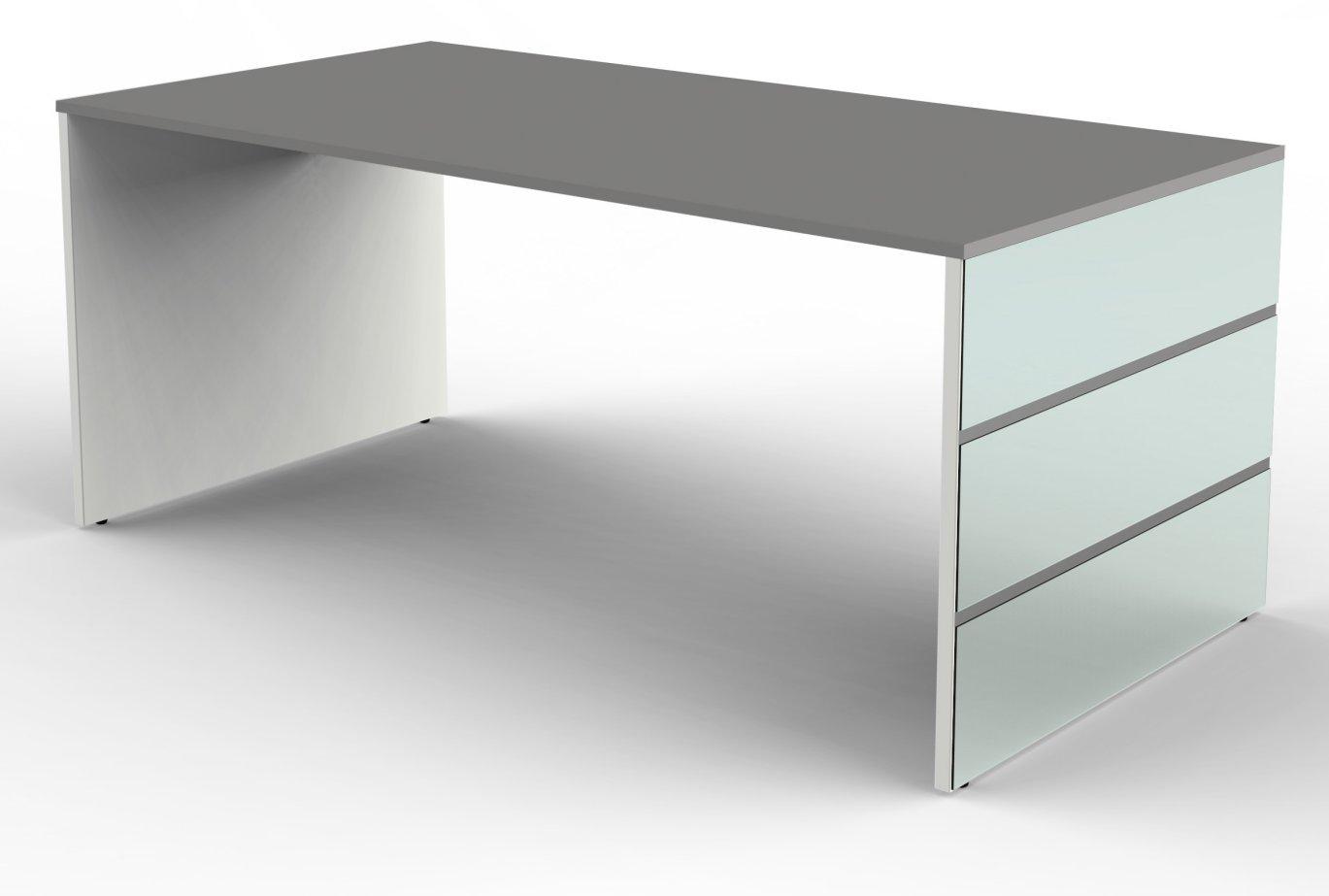 eleganter b roschreibtisch mit wangengestell glasverblendet. Black Bedroom Furniture Sets. Home Design Ideas