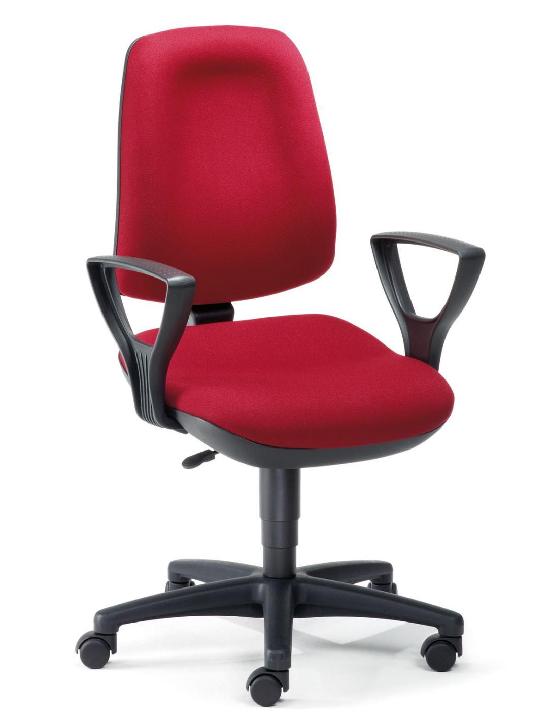 Abbildung bequemer schreibtischstuhl basis line mit bandscheibensitz und armlehnen als - Rot blauer stuhl ...