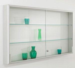 kleinteile wandvitrine mit schiebet r abschlie bar h henverstellbare fachb den. Black Bedroom Furniture Sets. Home Design Ideas