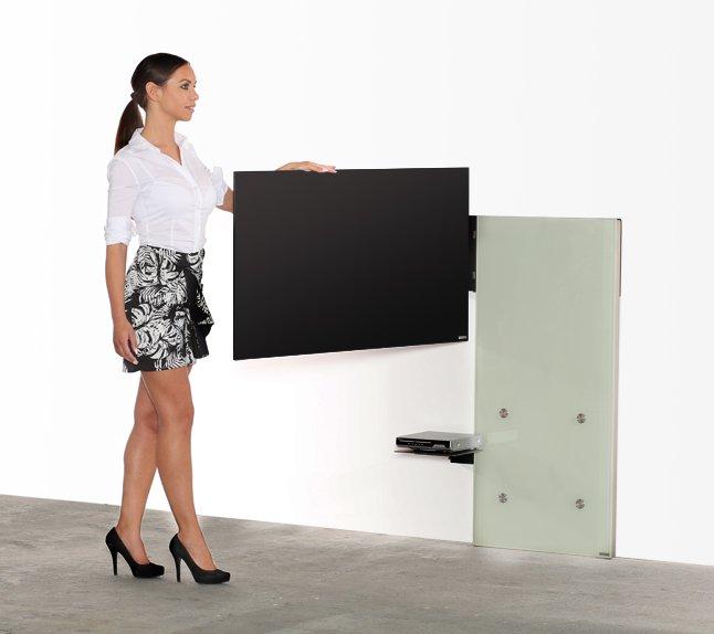 elegante fernseher wandhalterung mit schwenkarm an robuster glasplatte geeignet f r. Black Bedroom Furniture Sets. Home Design Ideas