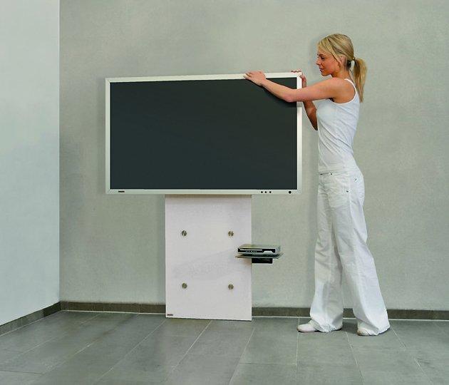 Moderne Tv Wandhalterung Mit Schwenkarm An Weisser Glasplatte